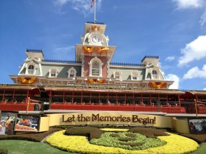Magic Kingdom Fall Decorations on the Main Street Train Station really set the mood for the Fall!