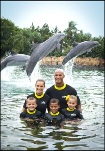 Jason Taylor and his family at Discovery Cove