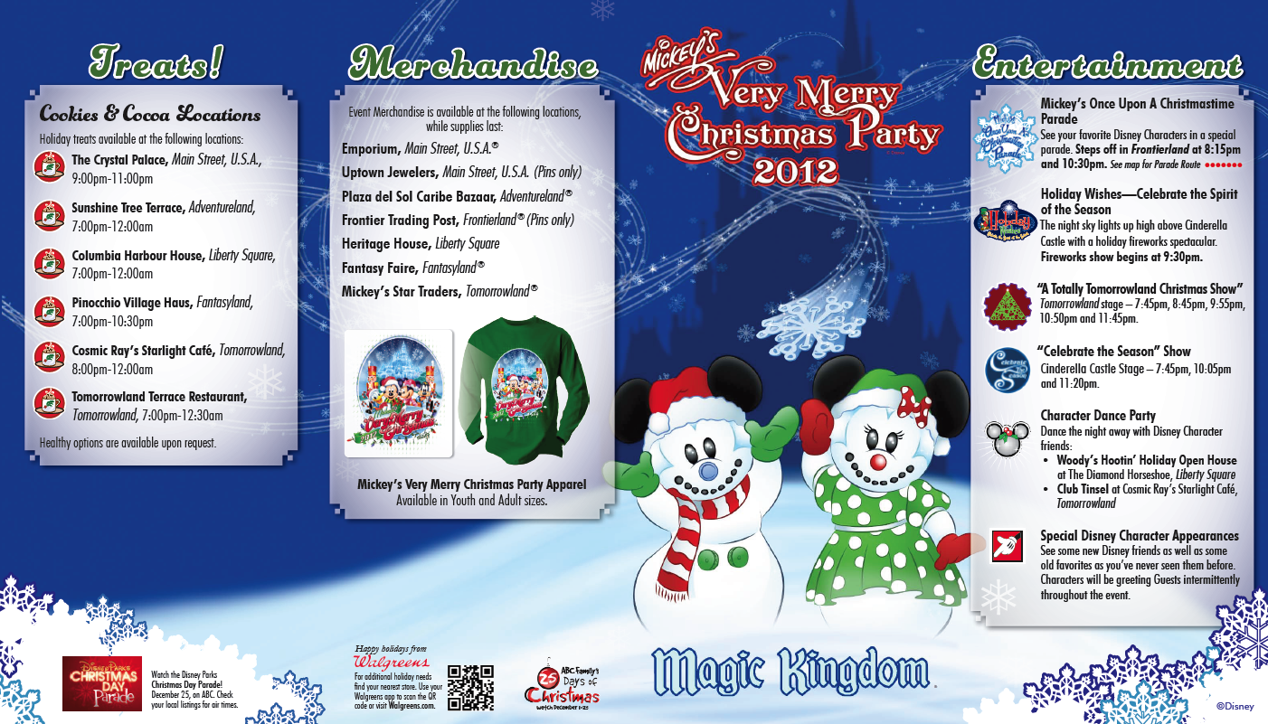 Mickeys Very Merry Christmas Party Merchandise.Mvmcp Party Map Front On The Go In Mco