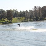 Wakeboarder doing a flip