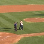 Couple that threw out the ceremonial first pitch got engaged on the field