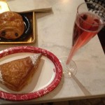 Kir Royale and almond croissant