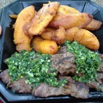 Skirt steak with chimichurri and sweet plantains
