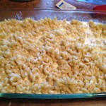 Pasta with cheese and cream mixture before baking