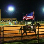 Trick rider with the flag