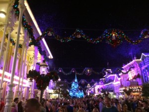 Mickey's Very Merry Christmas Party Snow on Main Street