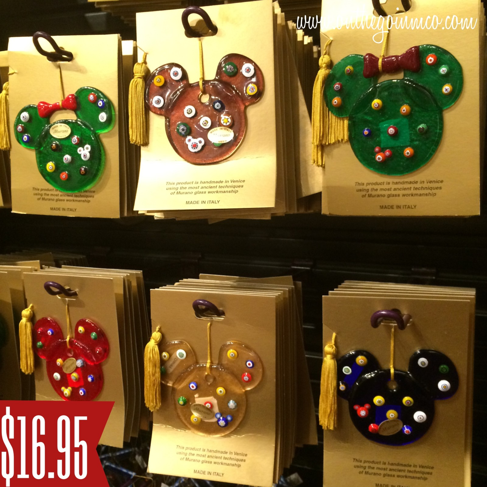 Walt Disney World Christmas Ornaments - Murano Style Glass Mickey and Minnie Ornaments