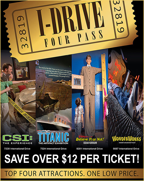 Orlando I-Drive Four Pass Attraction Combo Ticket