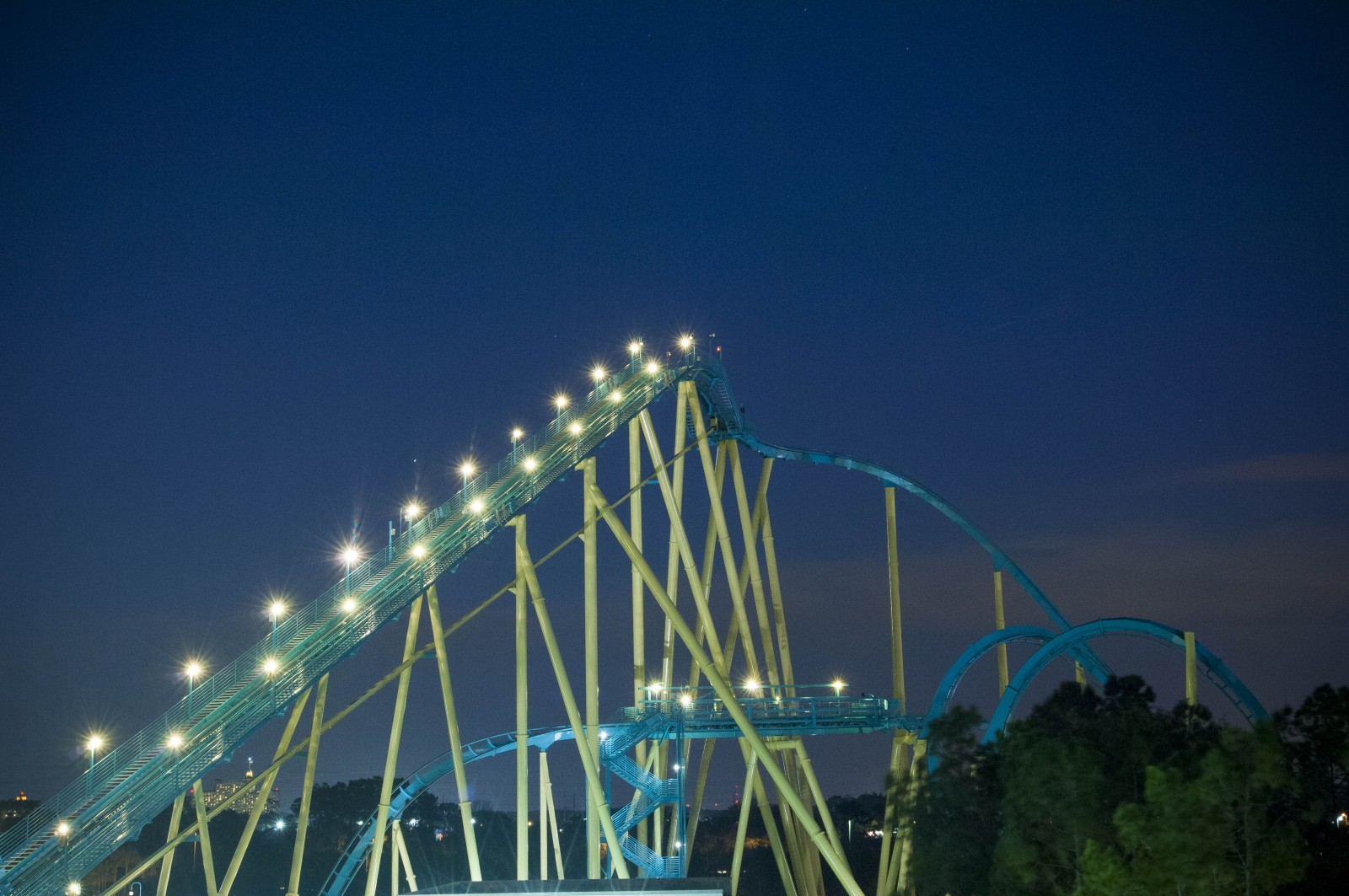 SeaWorld Orlando Summer Nights Kraken at Night