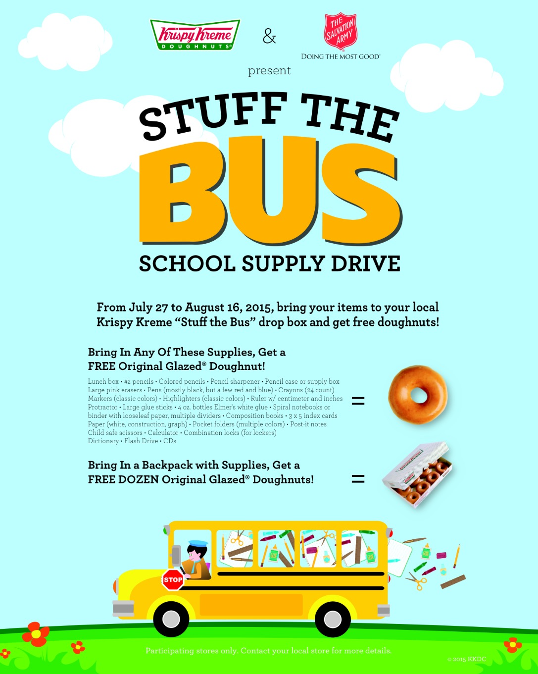 Krispy Kreme Stuff the Bus Flyer