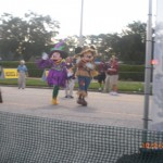 Mickey and Minnie at the finish