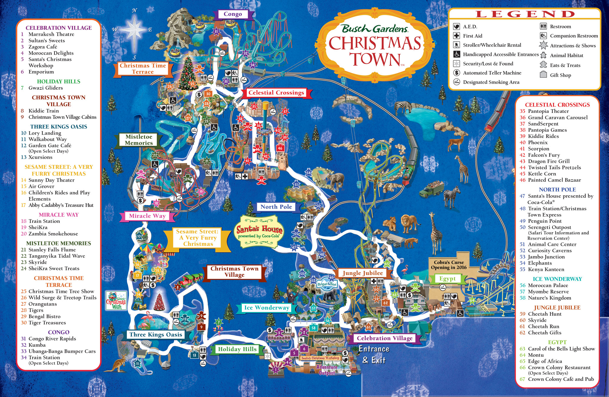Christmas Town Florida.Busch Gardens Christmas Town Map 2015 On The Go In Mco
