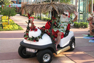 Walt Disney World Swan and Dolphin Hotel Christmas Santa Golf Cart