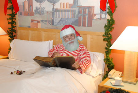 Walt Disney World Swan and Dolphin Hotel Christmas Santa in Bed