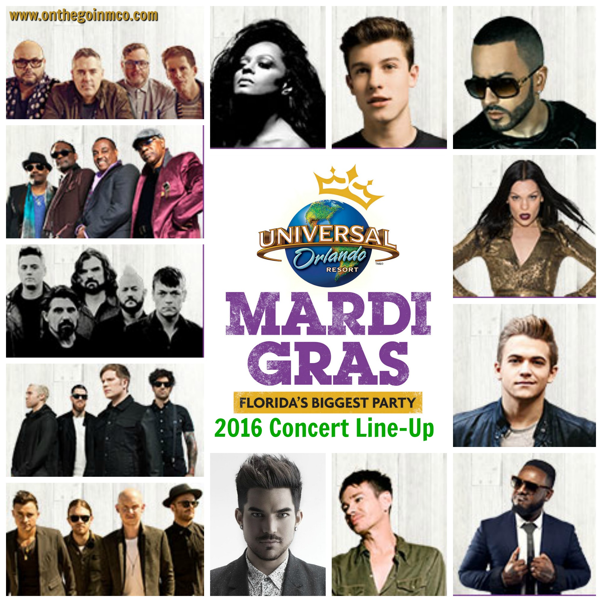 Universal Orlando Mardi Gras 2016 Concert Line-Up Collage