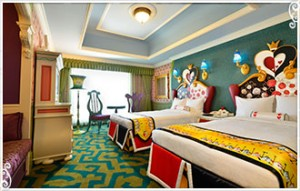 Alice in Wonderland themed room at Tokyo Disneyland Hotel