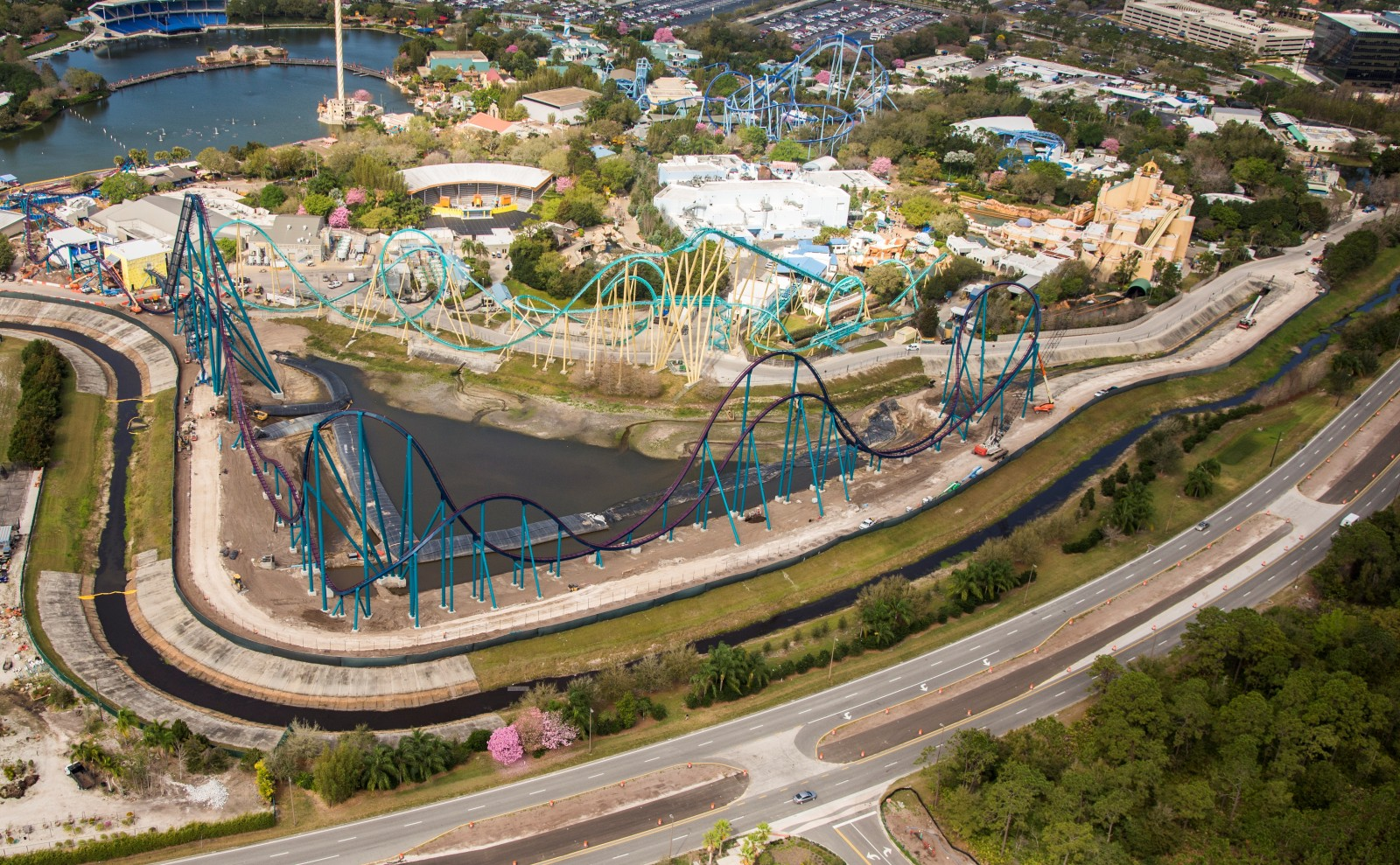 SeaWorld Orlando Mako Hypercoaster aerial construction April 2016