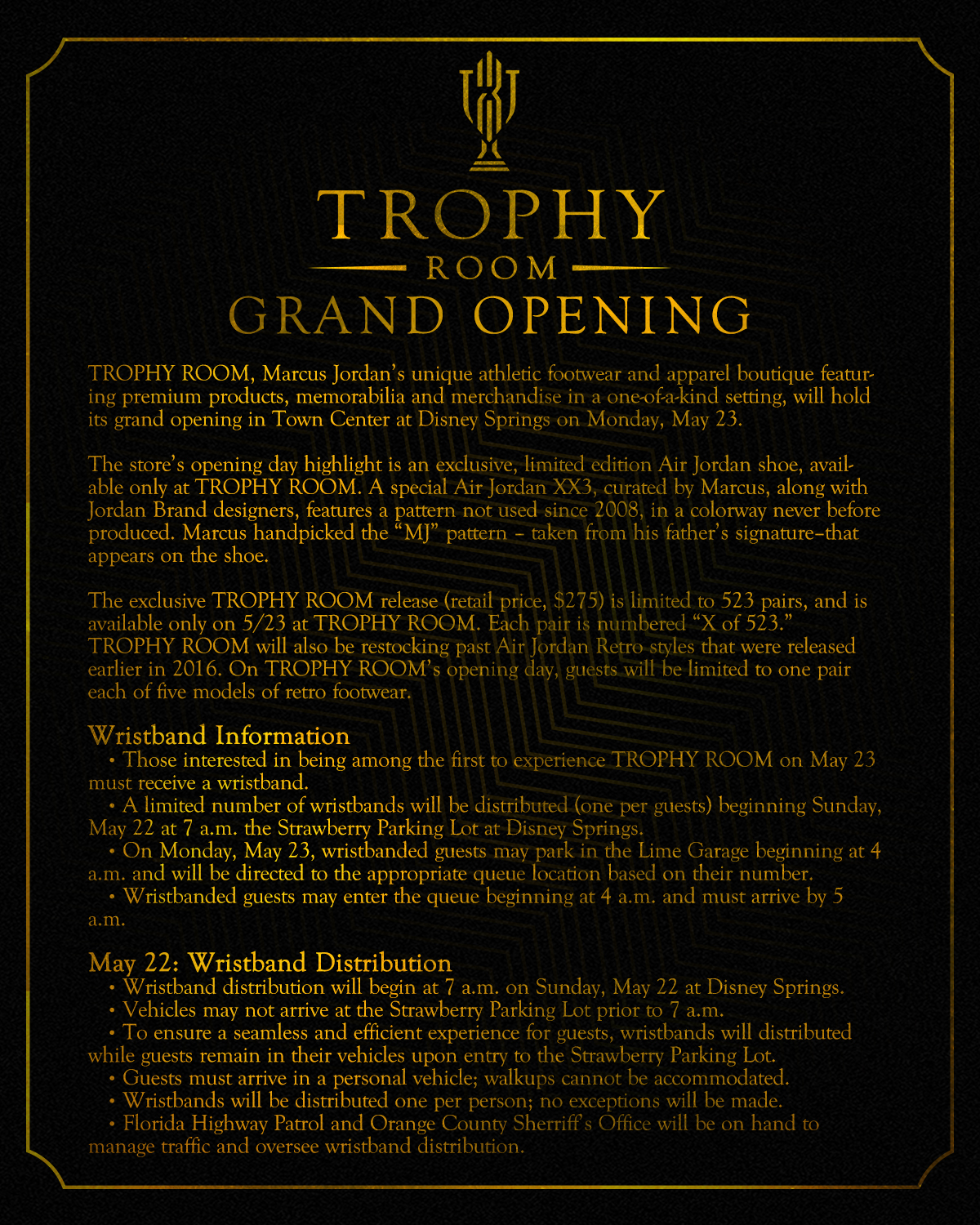 Trophy Room Grand Opening Details