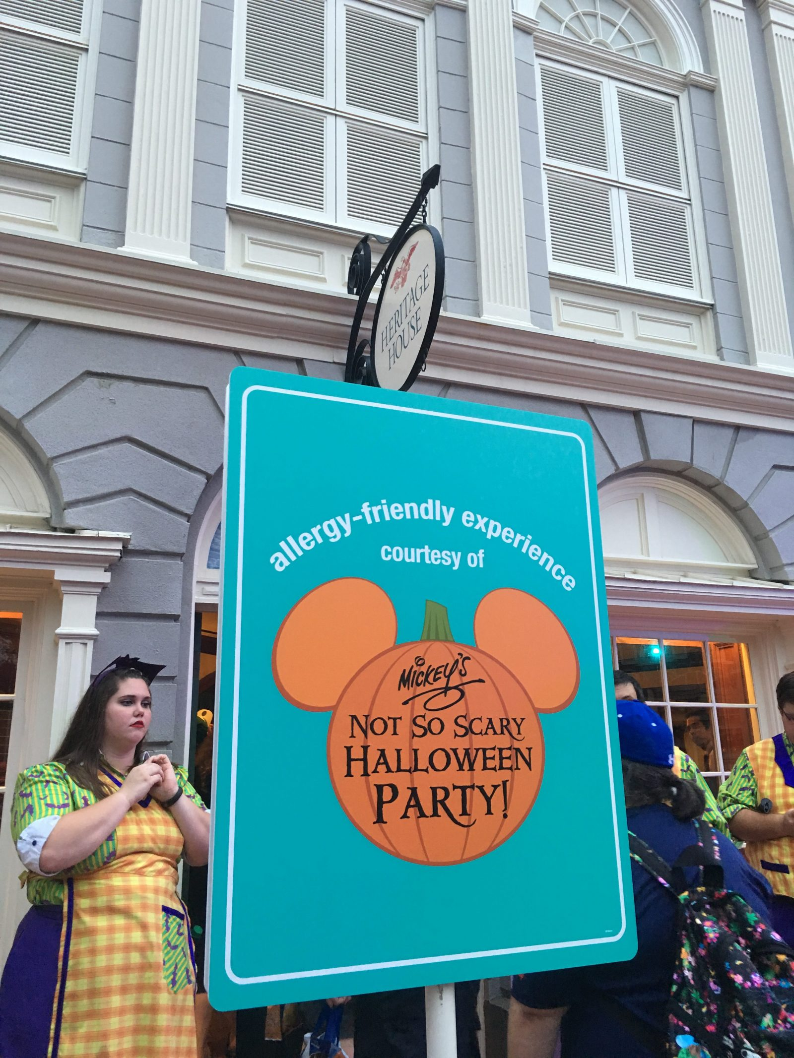 Mickey's Not So Scary Halloween Party 2016 - Allergy Friendly Experience - Heritage House Sign