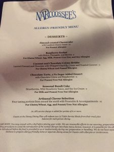 Dining with a Food Allergy at Walt Disney World Narcoossee's Allergy Menu 2016 desserts