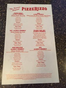 Dining with a Food Allergy at Walt Disney World Pizzerizzo Allergy Menu