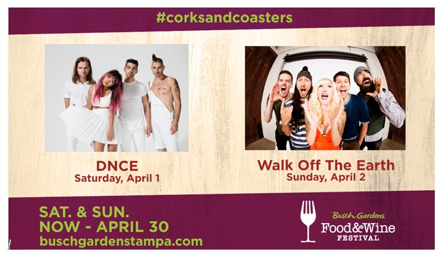 Busch Gardens Tampa Food and Wine Festival 2017 DNCE