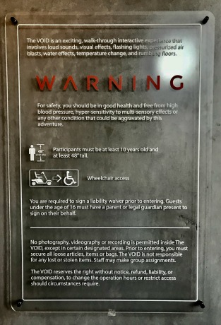 THE VOID Disney Springs Warnings
