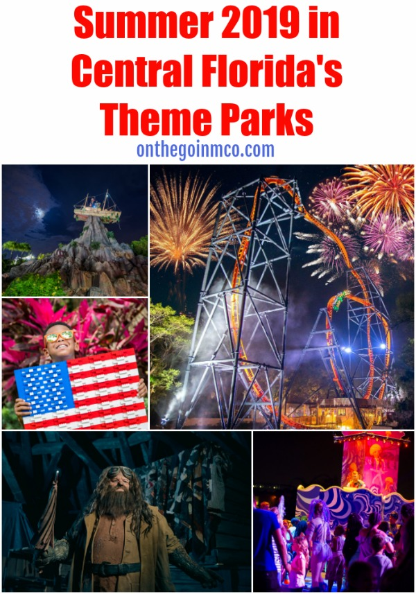 Summer 2019 Theme Parks  Central Florida Walt Disney World Disney's Animal Kingdom Hollywood Studios Epcot Typhoon Lagoon LEGOLAND Florida SeaWorld Orlando Electric Ocean Illuminations Universal Orlando Resort Universal's Islands of Adventure Harry Potter Wizarding World Hogsmeade Busch Gardens Tampa Bay Summer Nights 2019