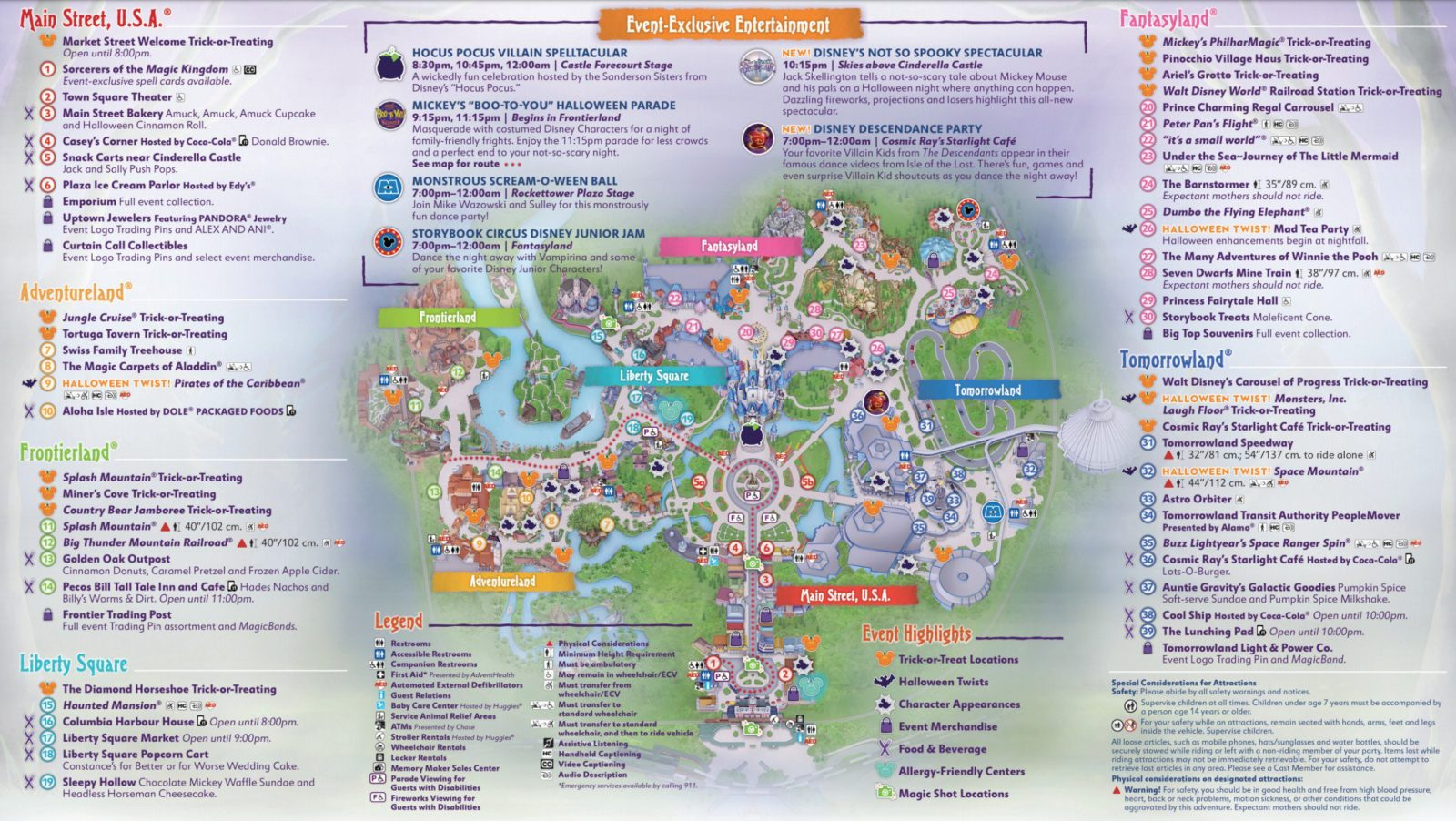 Mickey's Not So Scary Halloween Party Map 2019 Inside