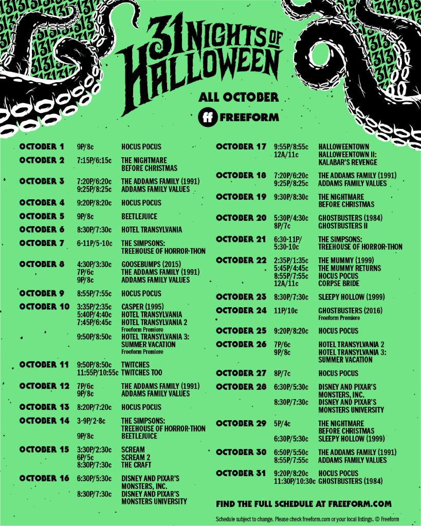 Freeform 31 Nights of Halloween Schedule