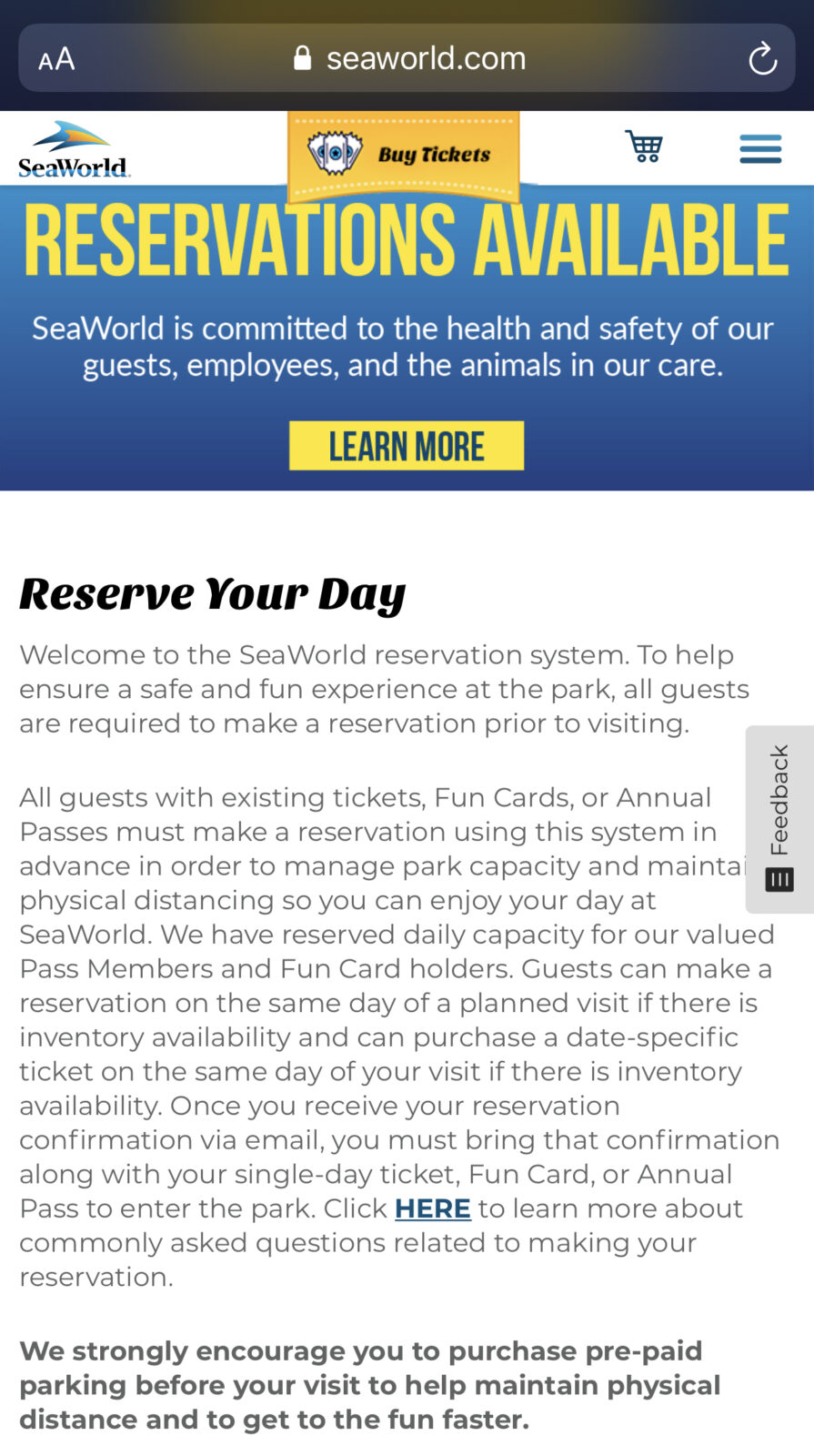 SeaWorld Orlando Reservation Spring Break 2021 Tips
