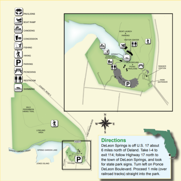 On the Go In MCO Explore the Great Outdoors De Leon Springs State Park Map