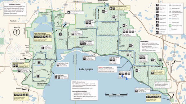 On the Go In MCO Explore the Great Outdoors Apopka Wildlife Drive Map